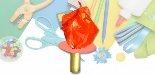 החומרים: גליל נייר טואלט ריק צלחת נייר עיפרון דבק מספריים נייר עטיפה בצבע זהב ניירות טישו בצבעים אדום וכתום    אופן ההכנה:  להניח את גליל הנייר […]